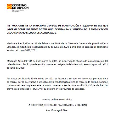 Modificación Suspensión Calendario Escolar